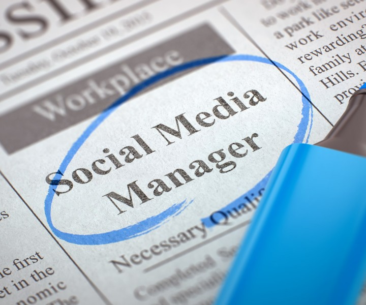 Newspaper with Job Vacancy Social Media Manager. Blurred Image. Selective focus. Job Seeking Concept. 3D Render.