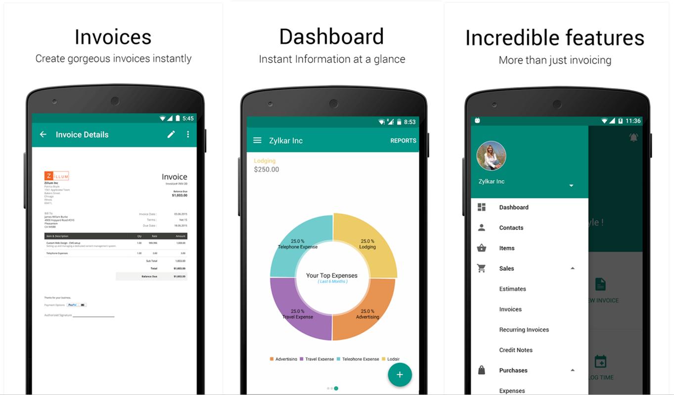 zoho invoice app